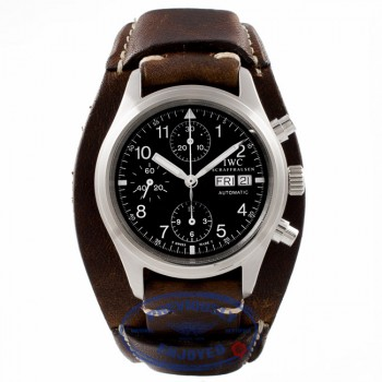 IWC Flieger Chronograph Day-Date Black Dial Brown Calf Strap IW3706 BIXL5W - Beverly Hills Watch Store