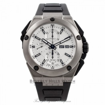 IWC Ingenieur Double Chronograph 45MM Titanium Silver Dial 44 Hour Power Reserve IW386501 4UTJTH - Beverly Hills Watch Company Watch Store