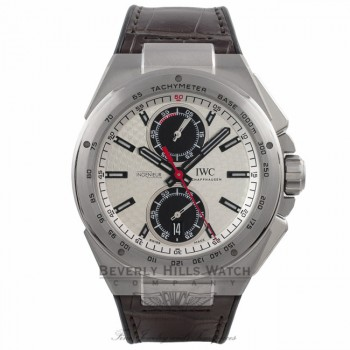 IWC Ingenieur Racer Chronograph 45MM Stainless Steel Silver Dial Black Subdials Rubber Strap IW378505 K4L7HL - Beverly Hills Watch Company Watch Store