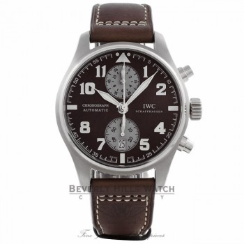 IWC Pilot Antoine De Saint Exupery Chronograph 43MM Automatic Stainless Steel Brown Dial Leather Strap IW387806 520CNW  - Beverly Hills Watch Company Watch Store