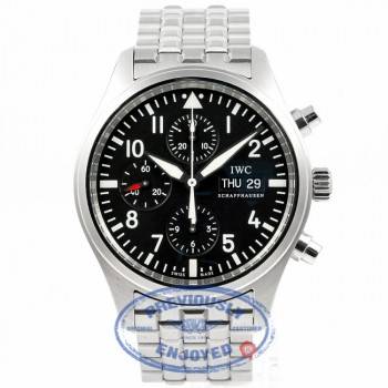 IWC Pilot Day Date 42mm Chronograph Stainless Steel Bracelet Black Dial Watch IW371704 Beverly Hills Watch Company Watches