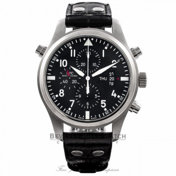 IWC Pilot Double Chronograph 46MM Automatic Stainless Steel Black Dial Alligator Strap IW377801 YD1TUE - Beverly Hills Watch Store