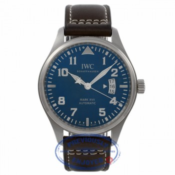 IWC Pilot Mark XVII Edition Le Petit Prince 40MM Stainless Steel Midnight Blue Dial Brown Leather Strap IW326506W326506 V28Q3C - Beverly Hills Watch Store