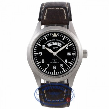 IWC Pilot UTC TZC 39MM Stainless Steel Automatic Black Dial Brown Leather Strap IW3251-01 J1MU92 - Beverly Hills Watch Company Watch Store