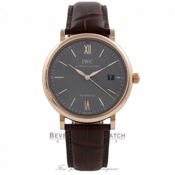 IWC Portofino 40MM 18k Rose Gold Grey Dial IW356511 ZXDXDJ - Beverly Hills Watch Company Watch Store