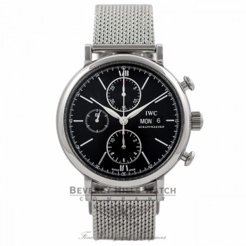 IWC Portofino Chronograph 42MM Stainless Steel Black Dial IW391016 R4G2M2 - Beverly Hills Watch Company Watch Store