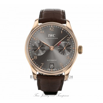 IWC Portugieser 18k Rose Gold Slate Dial 42MM Automatic Alligator Strap IW500702 LNHN35 - Beverly Hills Watch Company