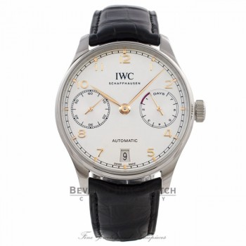 IWC Portuguese 42MM Stainless Steel Silver Dial Rose Gold Markings Alligator Strap IW500704 5E1HNE - Beverly Hills Watch Company Watch Store