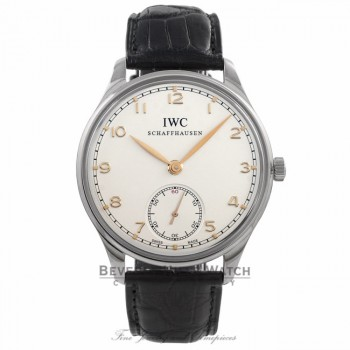 IWC Portuguese 44mm Stainless Steel Manual Wind Silver Dial IW545407 0MXRT8 - Beverly Hills Watch Company Watch Store