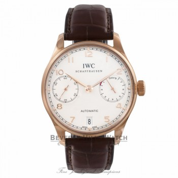 IWC Portuguese 7 Day 18k Rose Gold White Dial 42.3MM Brown Alligator Strap IW500113 88X3XF - Beverly Hills Watch Company Watch Store