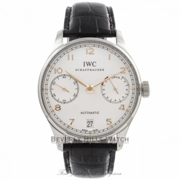 IWC Portuguese 7 Day Stainless Steel IW500114 E9QCH3 - Beverly Hills Watch Company Watch Store