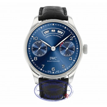 IWC Portugieser Annual Calendar Blue Dial 44mm Stainless Steel IW503502 9F4CK4 - Beverly Hills Watch