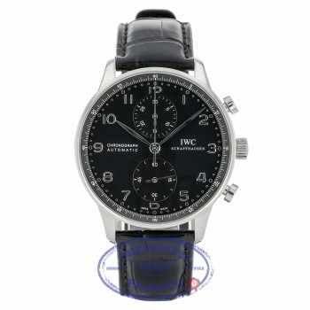 IWC Portuguese Chronograph 40MM Stainless Steel Black Dial IW371447 JC00DK - Beverly Hills Watch Company