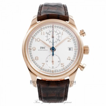 IWC Portuguese Chrono Classic 18K Rose Gold 42MM IW390402 2DMGHA - Beverly Hills Watch Company Watch Store
