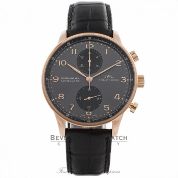 IWC Portuguese Chronograph 40MM Rose Gold Grey Dial Black Alligator Strap IW371482 NMQXW4 - Beverly Hills Watch Store