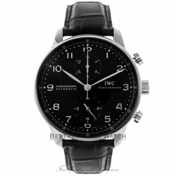 IWC Portuguese Chronograph 40MM Automatic Stainless Steel Black Dial IW371447 2Q767A - Beverly Hills Watch Company Watch Store