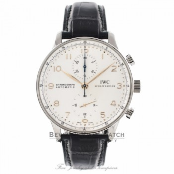 IWC Portuguese Chronograph 40MM Automatic Stainless Steel Silver Dial IW371445 VM1HMA - Beverly Hills Watch Company Watch Store