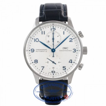 IWC Portuguese Chronograph Stainless Steel Case Silver Dial Blue Arabic Numerals IW371446 RME352 - Beverly Hills Watch Company Watch Store