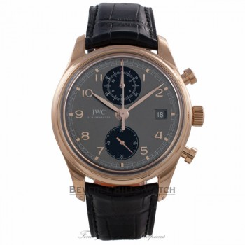 IWC Portuguese Chronograph Classic 42MM 18k Rose Gold Grey Dial Black Alligator Strap IW390405 D20120 - Beverly Hills Watch Company Watch Store
