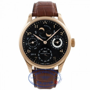 IWC Portuguese Perpetual Calendar Hemisphere Moonphase 44mm 18k Rose Gold Black Dial Brown Alligator Strap IW5201-03 P58HZ9 - Beverly Hills Watch Company Watch Store