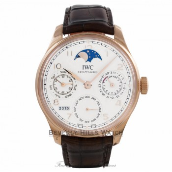 IWC Portuguese Perpetual Calendar Single Moonphase 44MM 18k Rose Gold Silver Dial Brown Alligator Strap IW503302 MYV0KJ - Beverly Hills Watch Company Watch Store