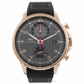 IWC Portuguese Yacht Club 18k Rose Gold 45MM Grey Dial IW390209 QVXR30 - Beverly Hills Watch Company Watch Store