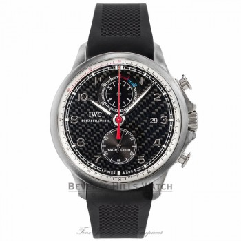 IWC Portuguese Yacht Club Automatic Chronograph Black Carbon Fiber Titanium Case Dial IW390212 MXKXDF - Beverly Hills Watch Company Watch Store