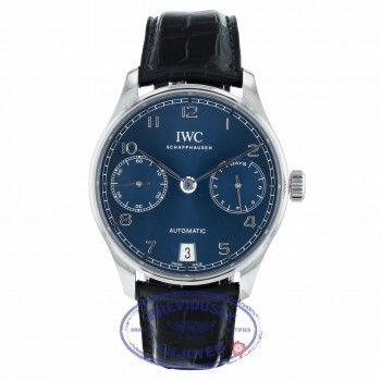IWC Portugieser Seven Day Reserve 42.3mm Blue Dial Stainless Steel IW500710 5VPMNM - Beverly Hills Watch Company