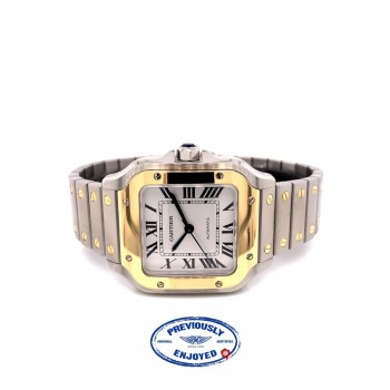 Cartier Santos Medium 18k Yellow Gold and Stainless W2SA0007 J688PL Beverly Hills Watch Company