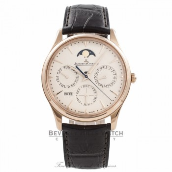 Jaeger Le-Coultre Ultra Thin Perpetual 39MM 18K Rose Gold Eggshell Beige Dial Power Reserve Q1302520 AKT2BP - Beverly Hills Watch Company Watch Store