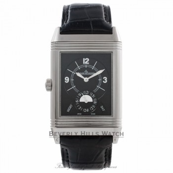Jaeger Le Coultre Grande Reverso Duo Stainless Steel Black/ Silver Dial Black Alligator Strap Q3748421 UTNYN8 - Beverly Hills Watch Store