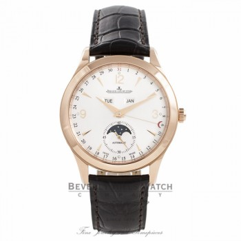 Jaeger LeCoultre Master Calendar 39MM 18k Rose Gold Silver Dial 43 Hour Power Reserve Q1552520 GWRBV6 - Beverly Hills Watch Company Watch Store