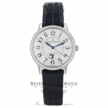Jaeger LeCoultre Rendez-Vous Silver Dial Diamond Bezel Blue Leather Q3448420 RUKVP4 - Beverly Hilss Watch Company