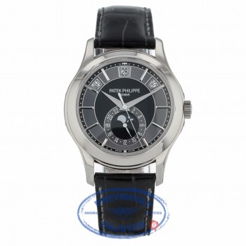 Patek Philippe Complications Annual Calendar Black and Grey Dial 40mm White Gold Watch 5205G-010 - Beverly Hills Watch