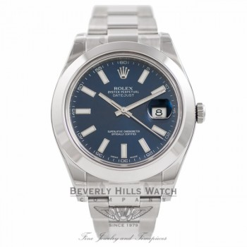 Rolex Datejust II Stainless Steel 41mm Smooth Bezel Oyster Bracelet Blue Stick Dial Watch 116300 D3AEJJ - Beverly Hills Watch Company Watch Store