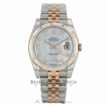 Rolex Datejust 36mm Stainless Steel and Rose Gold Jubilee Bracelet White Mother of Pearl Diamond Dial Fluted Bezel 116231 - JV9PA7 - Beverly Hills Watch Company Watch Store