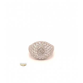 Naira & C La Scala Diamond Signet White Gold Ring KMQCTJ - Beverly Hills Watch and Jewelry Company