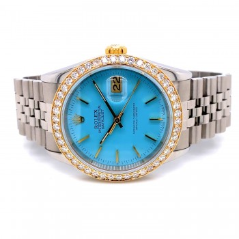 Rolex Datejust Tiffany Blue 36MM 18k Yellow Gold Diamond Bezel 16233 LKXJ1P - Beverly Hills Watch Company