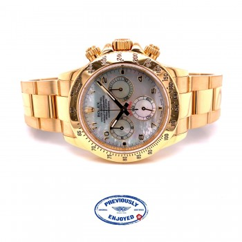 Rolex Daytona Yellow Gold Mother of Pearl Dial 116528 LYU168 - Beverly Hills Watch Company