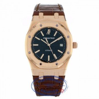 Audemars Piguet Royal Oak Date 39MM Automatic 18k Rose Gold Black Dial Brown Alligator Strap 15300OR.OO.D088CR.01 - Beverly Hills Watch