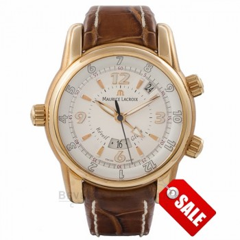 Maurice Lacroix Reveil Globe Gents 18k Rose Gold MP6388-PG101-830 6840 - Beverly Hills Watch Company Watch Store