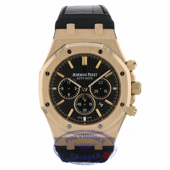 Audemars Piguet Royal Oak Chronograph 41MM 18k Rose Gold Black Dial Black Alligator Strap 26320OR.OO.D002CR.01 NVHWDE - Beverly Hills Watch Company