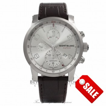 Montblanc Timewalker Chronograph Stainless Steel Silver Dial Brown Alligator Strap 107065 FZBVCW - Beverly Hills Watch Store
