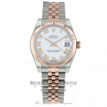 Rolex Datejust 31MM Stainless Steel 18k Rose Gold Fluted Bezel White Roman Numerals Dial 178271 MXNTZH - Beverly Hills Watch Company