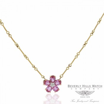Naira & C Daisy Necklace Pink Sapphires and Diamond QCFAJ2 - Beverly Hills Watch and Jewelry Store