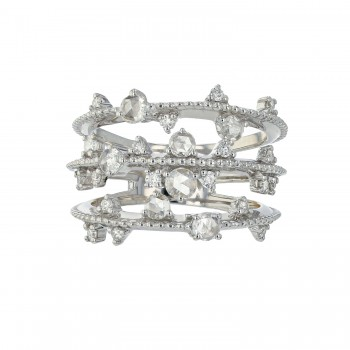 Naira & C Three Row Rose Cut Diamond White Gold Ring A254CK
