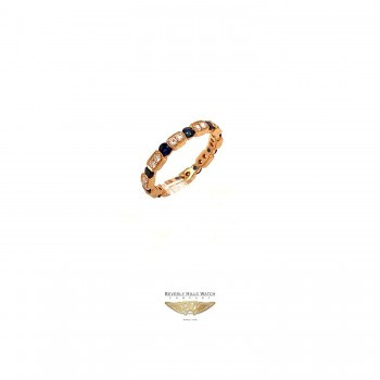 Naira & C Diamond and Sapphire Rose Gold Stackable Ring 1ZHNWX - Beverly Hills Watch and Jewelry Company