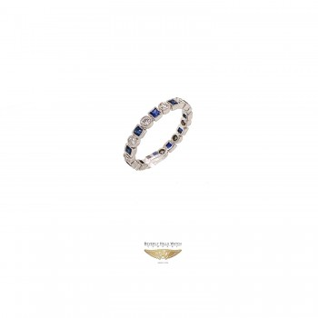 Naira & C Diamond and Sapphire White Gold Stackable Ring UVP9XX