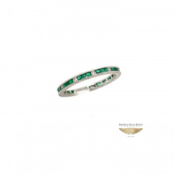 Naira & C White Gold Emerald and Diamond Eternity Band 7508
