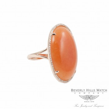Designs by Naira Rosel Gold 14K Oval Peach Aventurine Diamond Halo Setting Ladies Ring Beverly Hills Jewelry Store